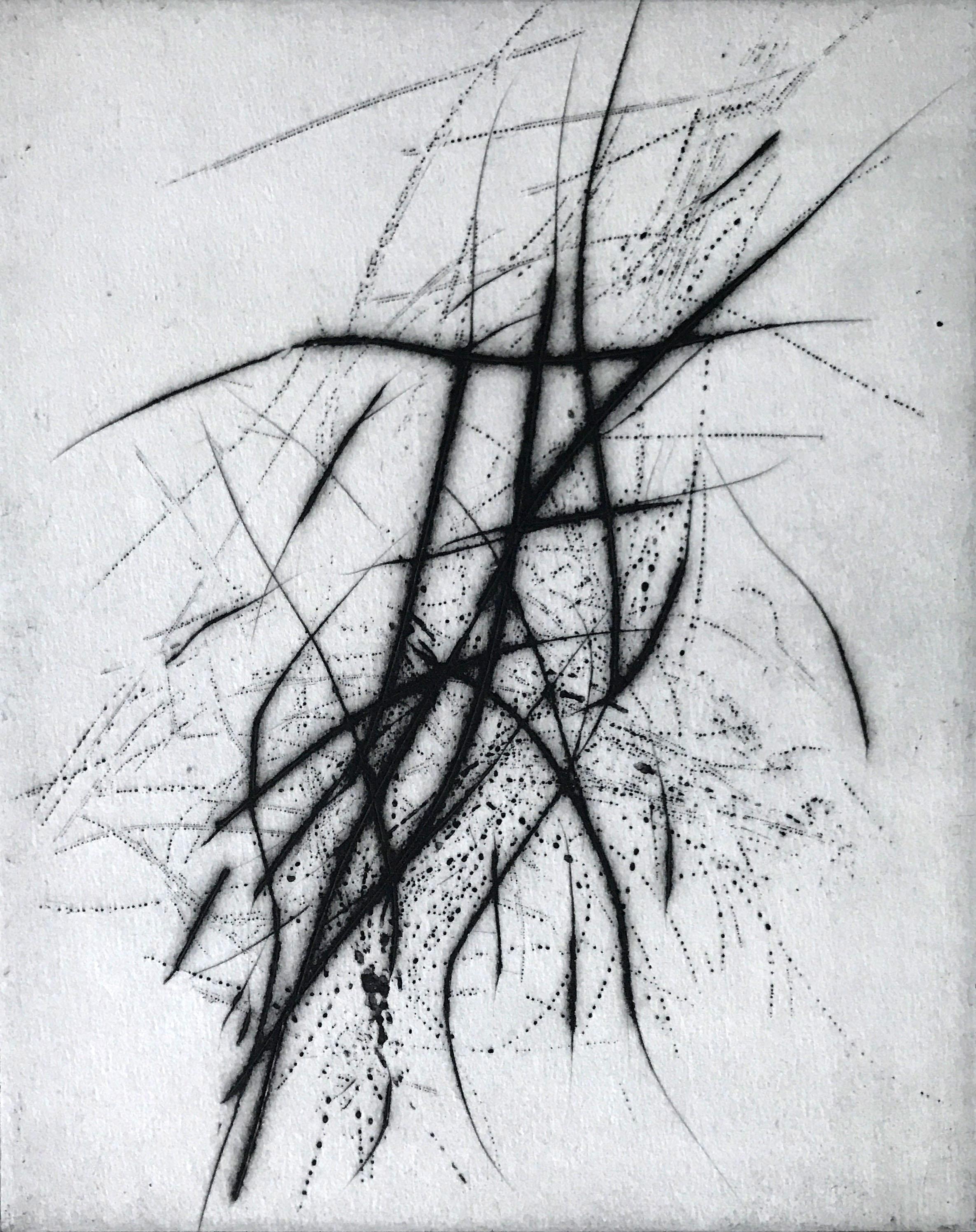 Akkord zu Alfred Schnittke 2020, Reservage/Kaltnadelradierung 25 x 20 cm Plattenmaß